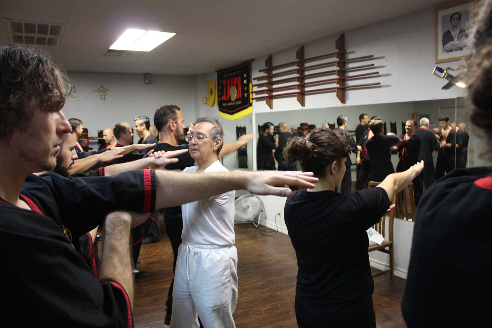 Photo: Great Grandmaster Leung Ting correcting instructors on the Biu Tze (thrusting fingers) form in San Antonio, Texas