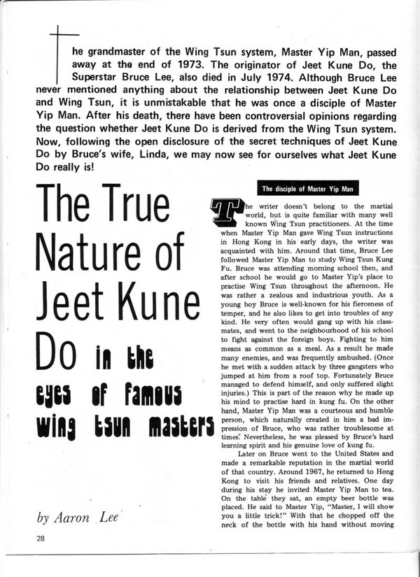 Real Kung Fu Magazine, April 1976 - The True Nature of Jeet Kune Do in the eyes of famous Wing Tsun Masters, by Aaron Lee - page 1