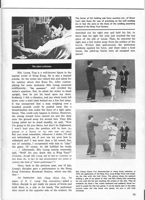 Real Kung Fu Magazine, April 1976 - The True Nature of Jeet Kune Do in the eyes of famous Wing Tsun Masters, by Aaron Lee - page 8
