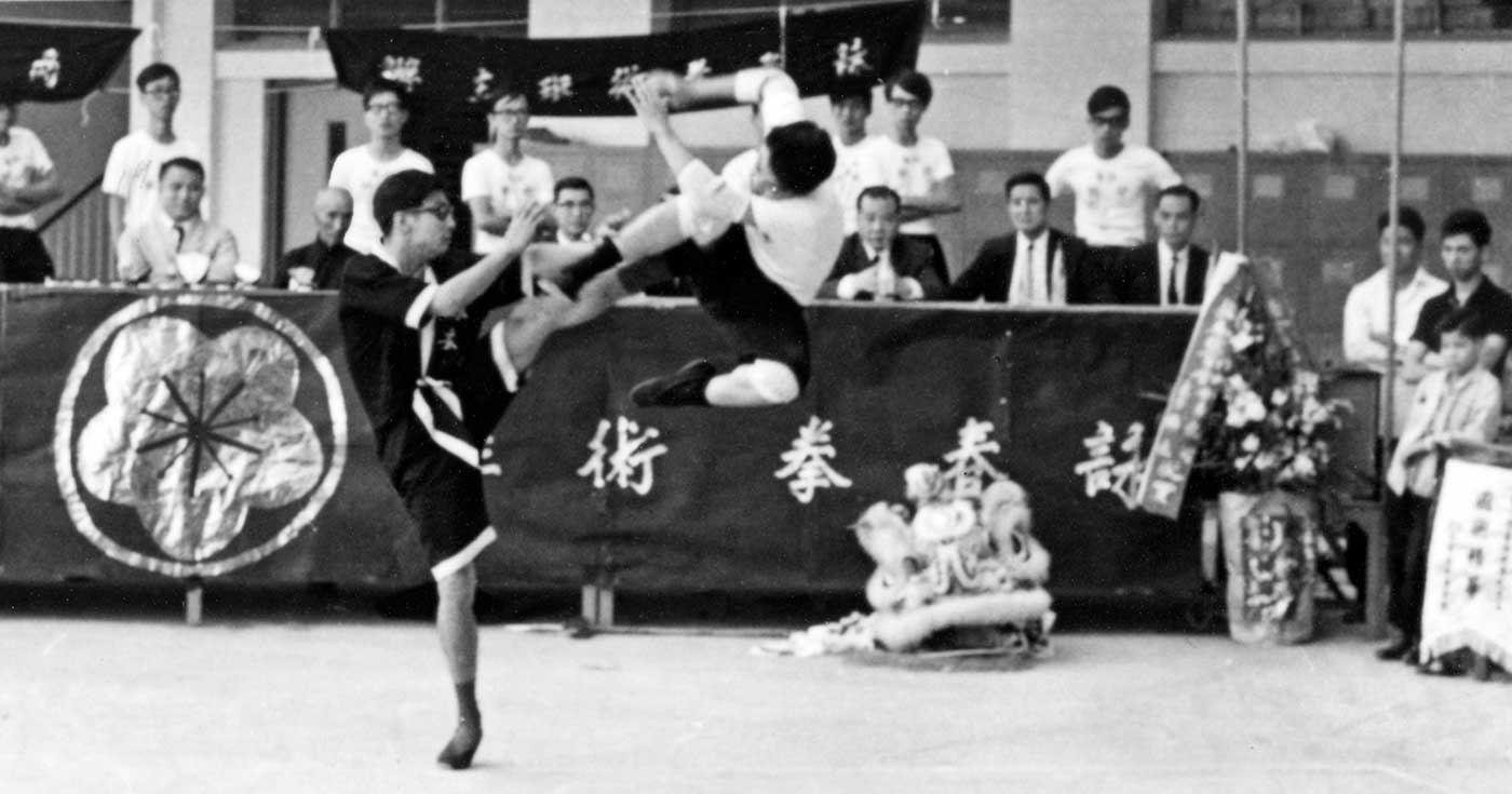 Photo: Shortly after the founding of the IWTA, Leung Ting put on a Wing Tsun show with Grandmaster Yip Man (Ip Man) as a VIP guest.